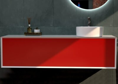 Lavabo redondo con mueble rojo